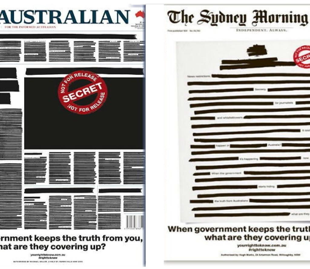 सरकारी हस्तक्षेपको विरोधमा अष्ट्रेलियाका दैनिक पत्रिकाले समाचारको ठाउँमा कालो पोते