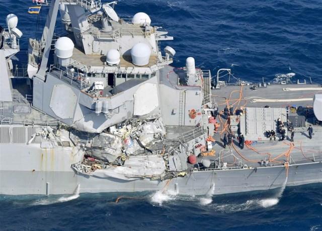 अमेरिकी सेनाका पानी जहाज दुर्घटना, ७ जना बेपत्ता