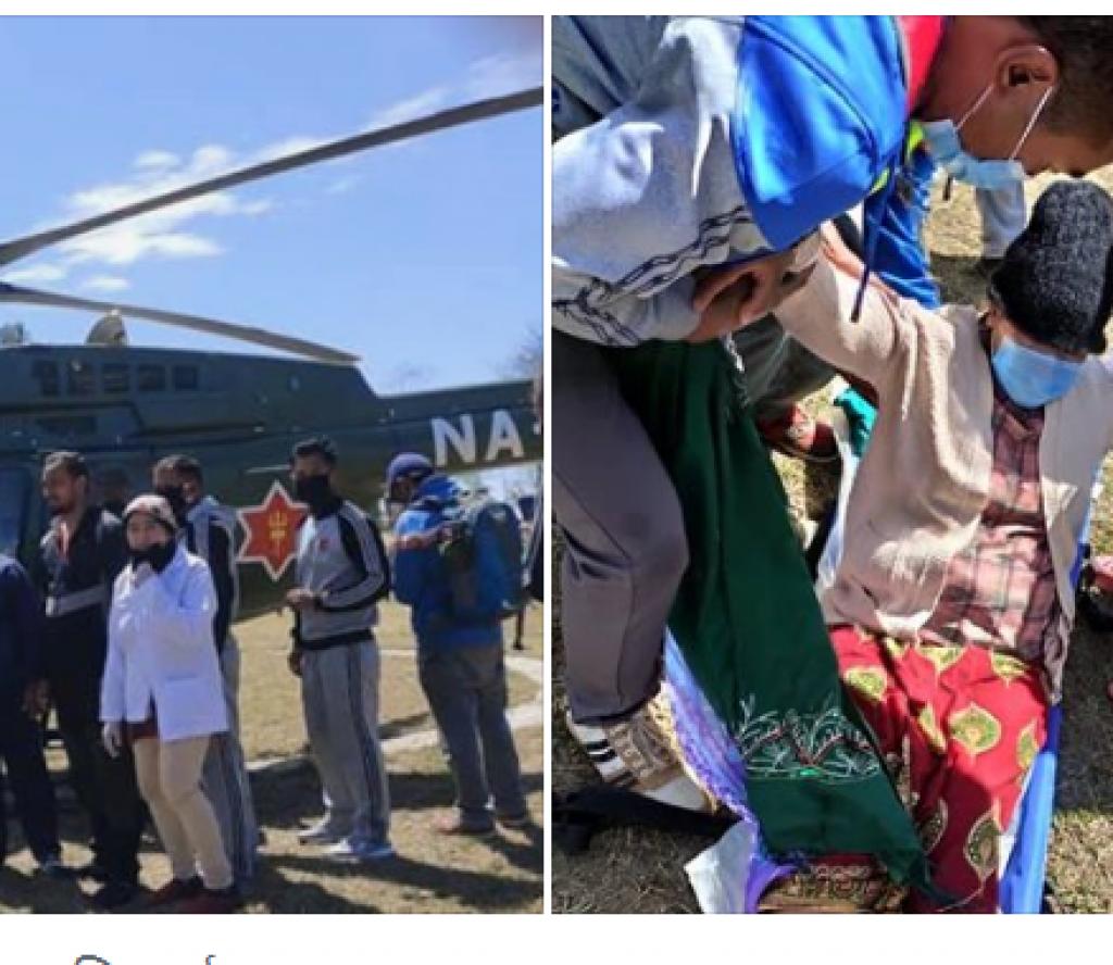 खोटाङबाट पाँच महिनाकि गर्भवती महिलालाई हवाई उद्धार गरी काठमाडौँ ल्याइयो
