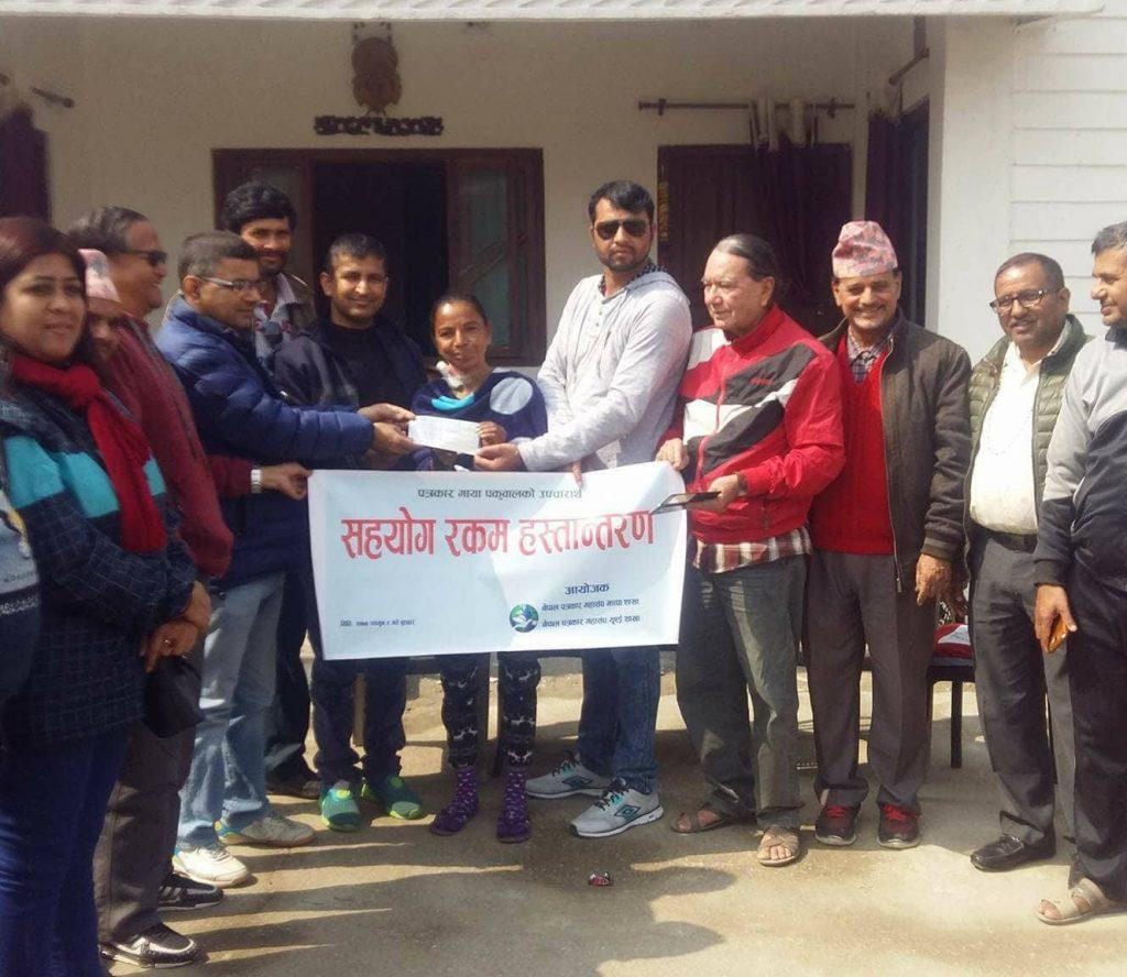 पत्रकार माया पकुवालको उपचारको लागि नेपाल पत्रकार महासंघ युएईको आर्थिक सहयोग